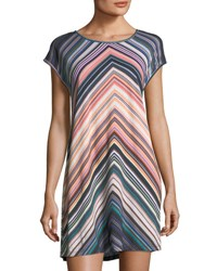 Jets By Jessika Allen Chevron Striped Scoop Neck Coverup Dress Multi
