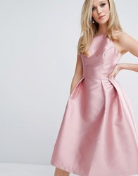Chi Chi London Structured Satin Prom Dress Rose Pink