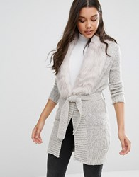 Lipsy Fur Trim Cardigan Grey
