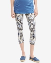 Motherhood Maternity Printed Capri Leggings Blue Tan Aztec Print