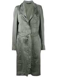 Ann Demeulemeester Tie Waist Trench Coat Women Silk Cotton Linen Flax 36 Green