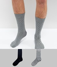 Selected Homme Socks In 2 Pack With Dot Print Dark Blue Melange Multi