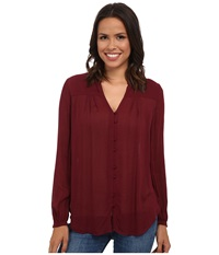 Lucky Brand Field Peasant Top Luxe Burgundy Women's Blouse Red