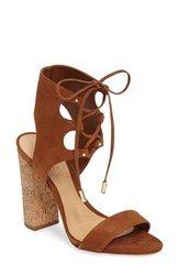 Schutz Women's Cruz Lace Up Cuff Sandal Saddle