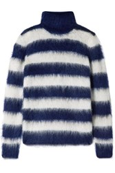Michael Kors Collection Striped Mohair Blend Turtleneck Sweater Navy