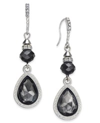 Inc International Concepts Silver Tone Jet Stone Drop Earrings Only At Macy's Black