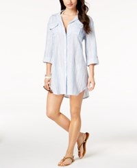 Dotti Chambray Shirtdress Cover Up Women's Swimsuit Blue White
