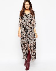 Influence Boho Maxi Dress With Button Front Multi