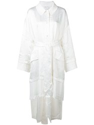 Esteban Cortazar Belted Single Breasted Coat White