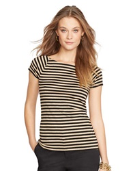 Lauren Ralph Lauren Metallic Striped Ballet Neck Shirt Black Gold