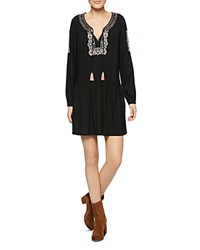 Sanctuary Freya Embroidered Peasant Dress Black