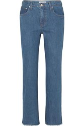 Elizabeth And James Holden Two Tone High Rise Straight Leg Jeans Mid Denim