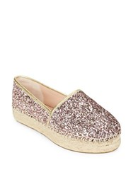 Kate Spade Lindstoo Leather And Glitter Platform Flats Rose Gold