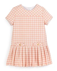 Luli And Me Short Sleeve Pleated Houndstooth Dress Salmon