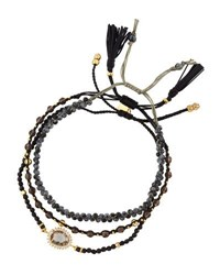 Tai Mixed Smoky Quartz Beaded Bracelets Black