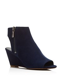 Kenneth Cole Deedra Wedge Open Toe Booties Navy