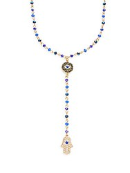 Cara Evil Eye And Hamsa Y Drop Chain Pendant Necklace Cobalt Blue