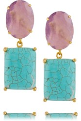 Bounkit Gold Tone Amethyst And Turquoise Earrings Metallic