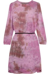 Raquel Allegra Tie Dyed Silk Georgette Dress Fuchsia