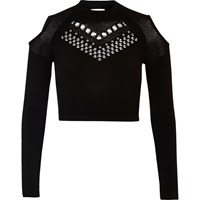 River Island Womens Black Studded Mesh Knit Crop Top
