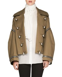 Burberry Military Style Gabardine Jacket Sage