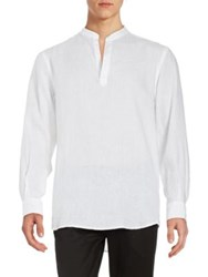 Perry Ellis Linen Pullover Shirt Bright White