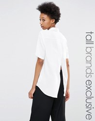 Adpt Tall Short Sleeve Wrap Back Detail Shirt White Cream