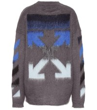 Off White Mohair And Wool Blend Sweater Grey