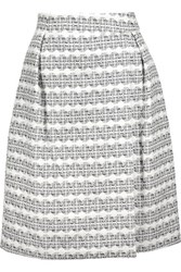 Thom Browne Grosgrain Trimmed Cotton Blend Jacquard Skirt Multi