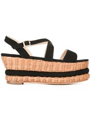 Paloma Barcelo Wedge Sandals Women Suede Straw Rubber 36 Black