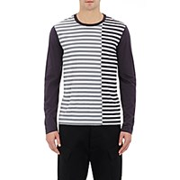 Barneys New York Men's Mixed Stripe Long Sleeve T Shirt Navy