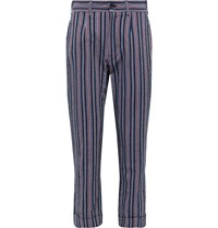 Engineered Garments Andover Tapered Striped Cotton Blend Seersucker Suit Trousers Blue