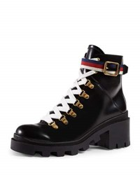 Gucci Trip Leather Combat Boot Red