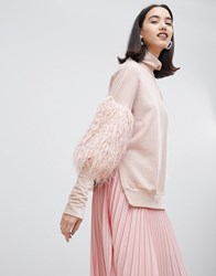 Lost Ink High Neck Sweatshirt With Mongolian Faux Fur Sleeves Pink