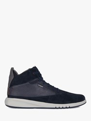 Geox Aerantis High Top Leather Trainers Navy
