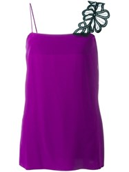 Victoria Beckham Lace Strap Cami Top Pink Purple