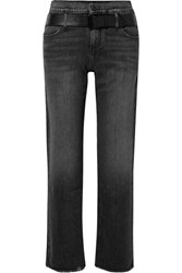 Rta Dexter Belted Frayed High Rise Straight Leg Jeans Black