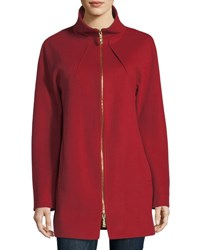 Sofia Cashmere Funnel Neck Zip Front Coat Red