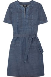 A.P.C. Atelier De Production Et De Creation Jess Pintucked Cotton Chambray Dress Mid Denim