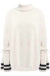 Charli Woman Striped Merino Wool Sweater Ivory
