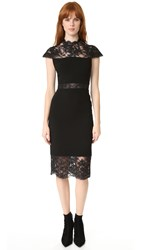 Alice Olivia Kim Mock Neck Lace Dress Black