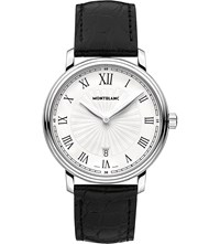 Montblanc 112633 Tradition Stainless Steel And Leather Watch White