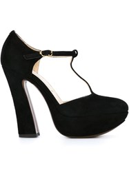 L'autre Chose T Bar Platform Pumps Black