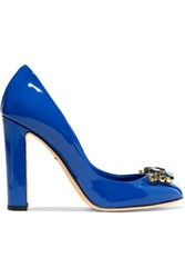 Dolce And Gabbana Crystal Embellished Patent Leather Pumps Royal Blue
