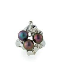 Belpearl 14K 7.5Mm Tahitian Pearl And Diamond Cocktail Ring Size 7