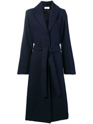 The Row Long Belted Coat Blue