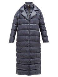 Herno Longline Ultralight Double Layer Quilted Coat Navy