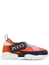 Emilio Pucci 30Mm City Mesh And Suede Sneakers Orange Navy