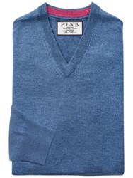 Thomas Pink Hawthorne Merino Wool Jumper Blue