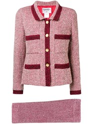 Chanel Vintage Slim Knitted Skirt Suit Red